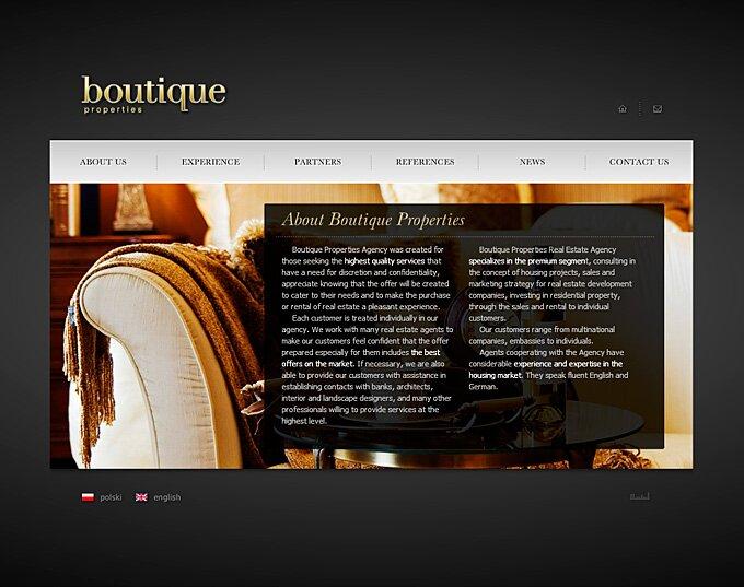 Boutique Properties - animowana strona www